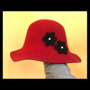 Charter club red wool bucket hat w black flowers.